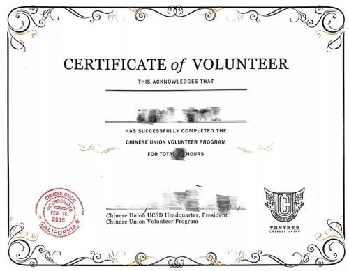 VITA会员志愿者证明例子